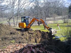 Grävning av avlopp samt infiltrationsanläggning