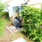 Framdragning av avlopp, el och vattenrör, gjutning av sockel för pumphus