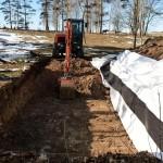Grävning för markbädd